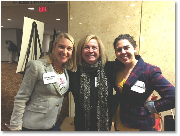 Bagley with Heather Charton and Kristin Offiler at the Boston Writing Workshop